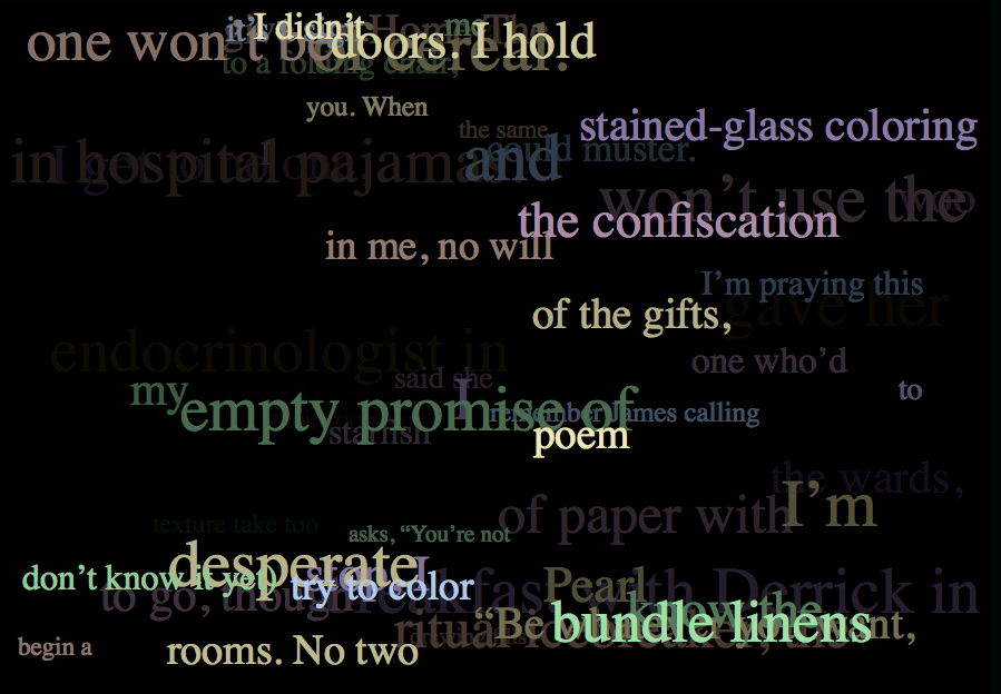Screenshot of a couple of shuffled poems